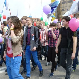 Cтуденты и преподаватели СГАУ приняли участие в первомайской демонстрации и митинге