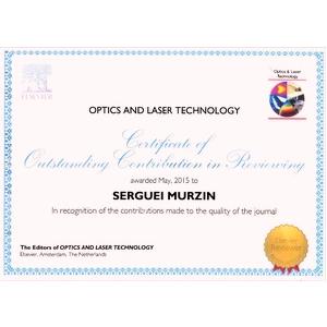 Профессор Сергей Мурзин награждён сертификатом издательства Elsevier